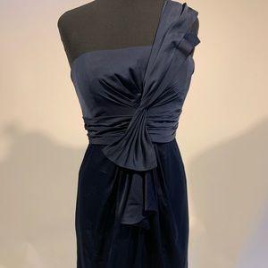 BCBG Navy Blue One Shoulder Cocktail Dress